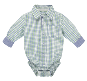 Blue/Green Plaid Diaper Shirt (0-6 months)