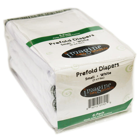 "Imagine ""Smart Fit"" Prefold Diapers 6-Pack (Small) - Bleached"