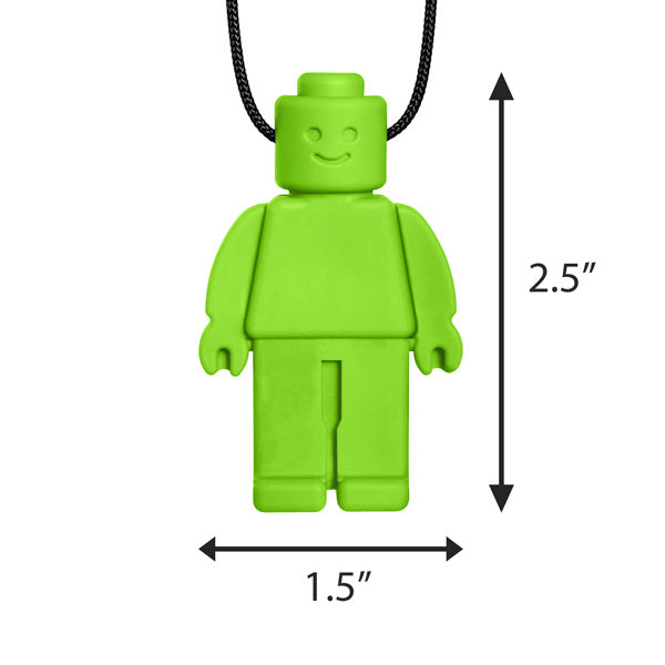 Ark's Chew Dude Chewable Figurine Necklace - Lime Green (XT - Medium)