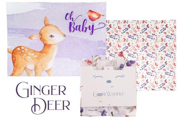 GooseWaddle Receiving Blankets - Ginger Deer/Berries (2 pack)