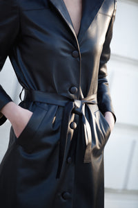 Faux Leather Midi Coat With Belt