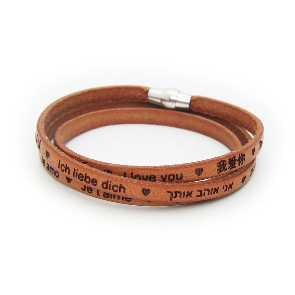 Universal I LOVE YOU Italian Leather Bracelet- Tan