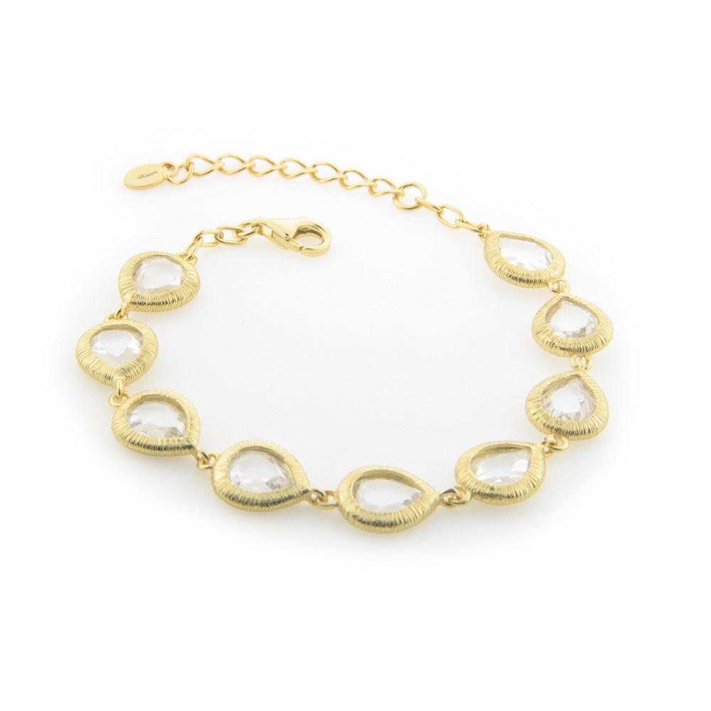 Divine Gold Plated Sterling Silver Pear CZ Stone Bracelet
