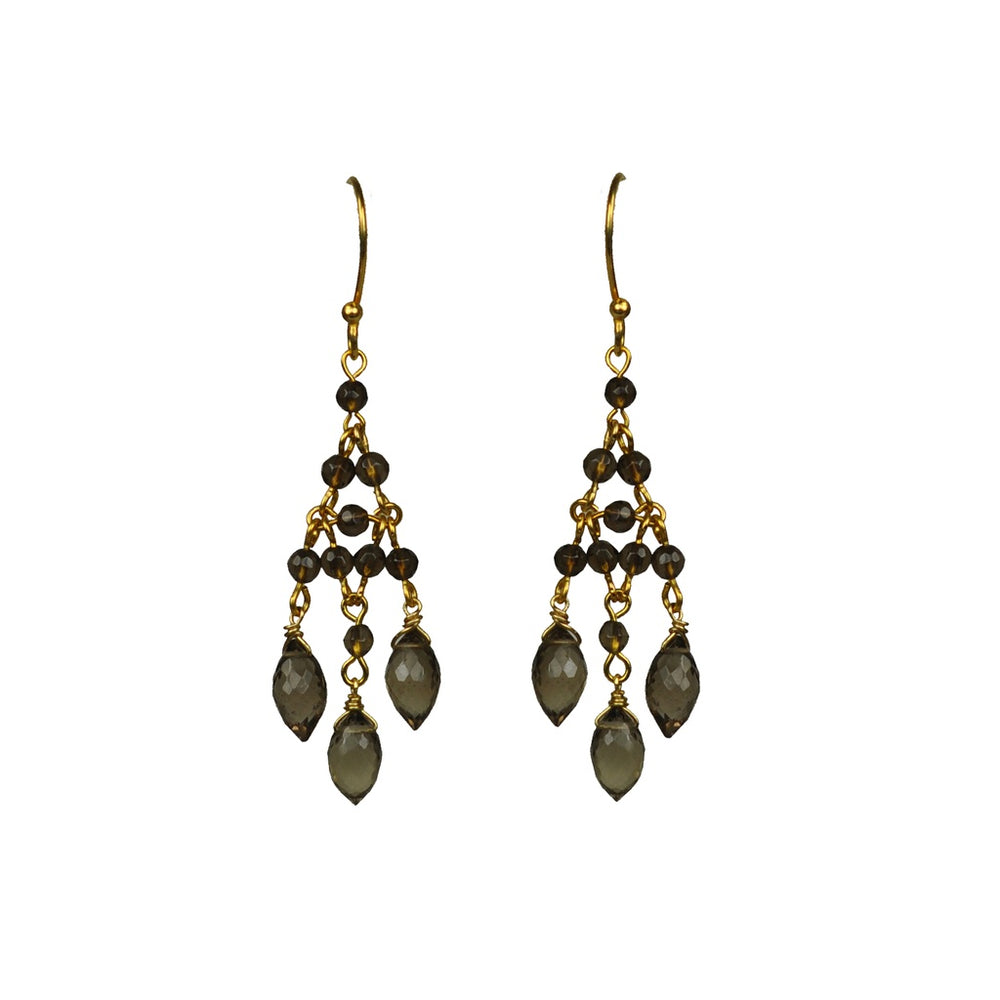 Smoky Topaz Chandelier Earrings