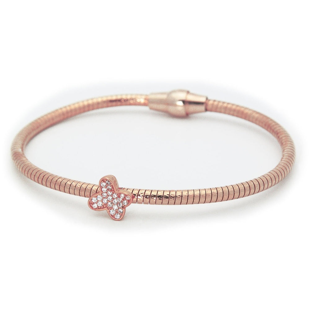 Sparkling Butterfly Tubo Gas Bracelet in Rose Gold Plated Sterling Silver