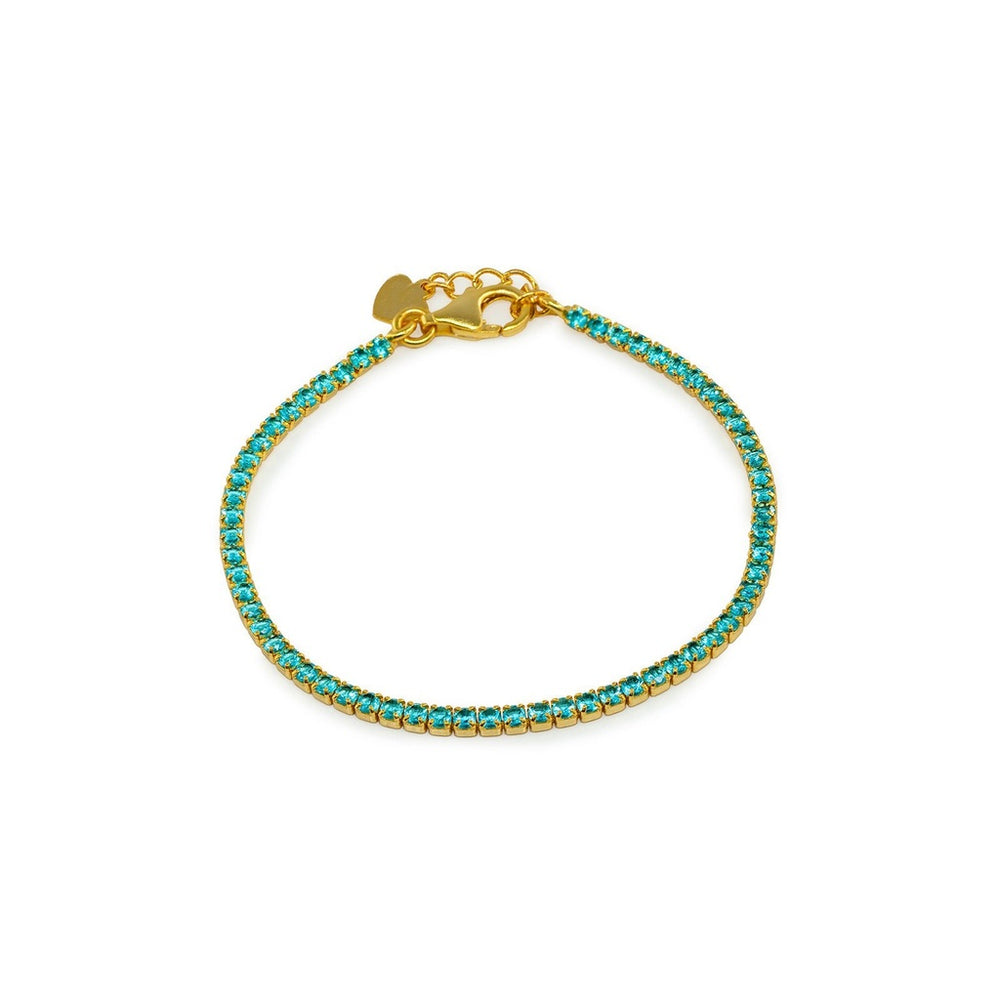 Girls Mini Aqua CZ Tennis Bracelet   Gold Plated Sterling Silver by BecKids