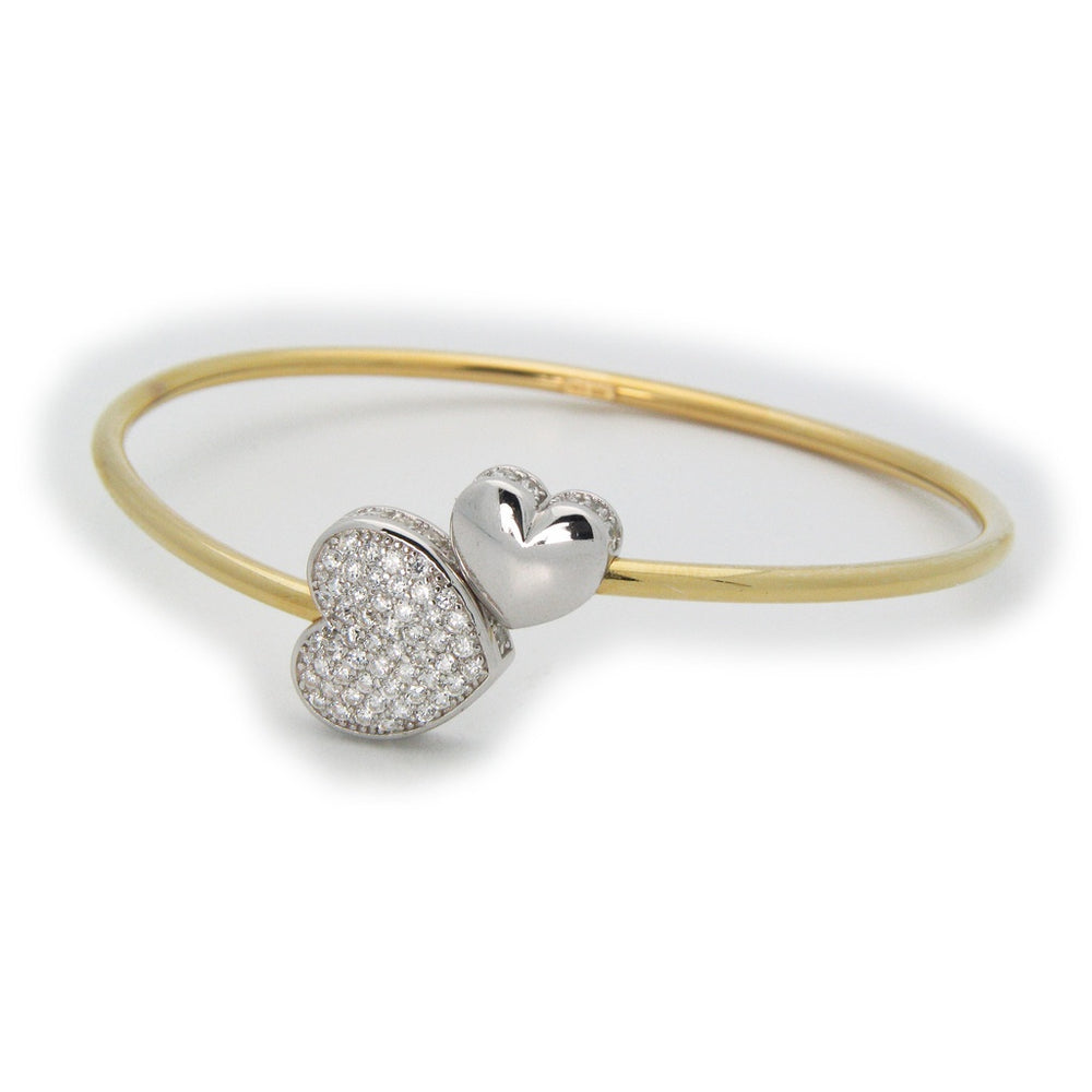 Cz Heart Cuff Bangle in 18k Gold Plated Sterling Silver