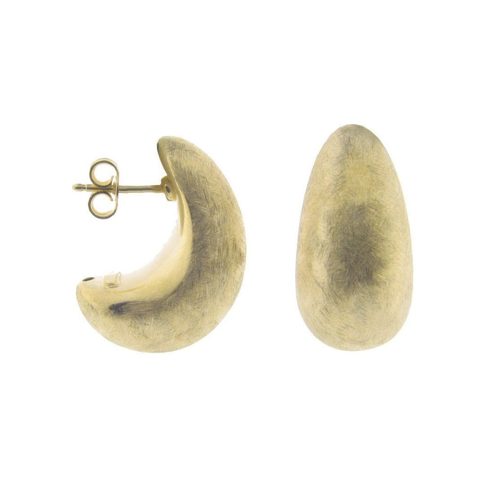 Half Moon Electroformed Satin Sterling Silver Gold Plated Earrings