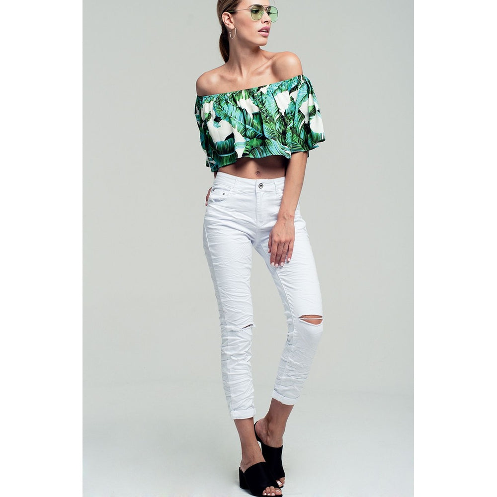 Palm print off shoulder ruffled crop top in green