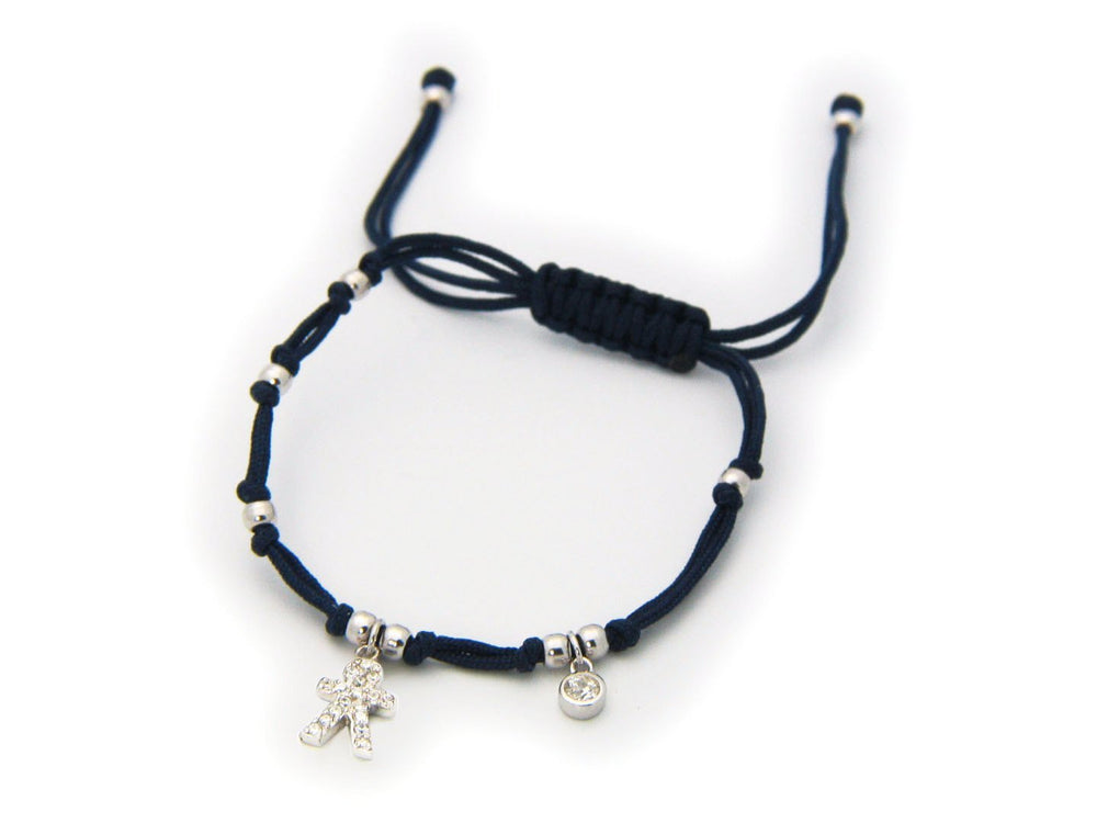 Navy Blue Cord Boy Cz Charm Bracelet in Sterling Silver