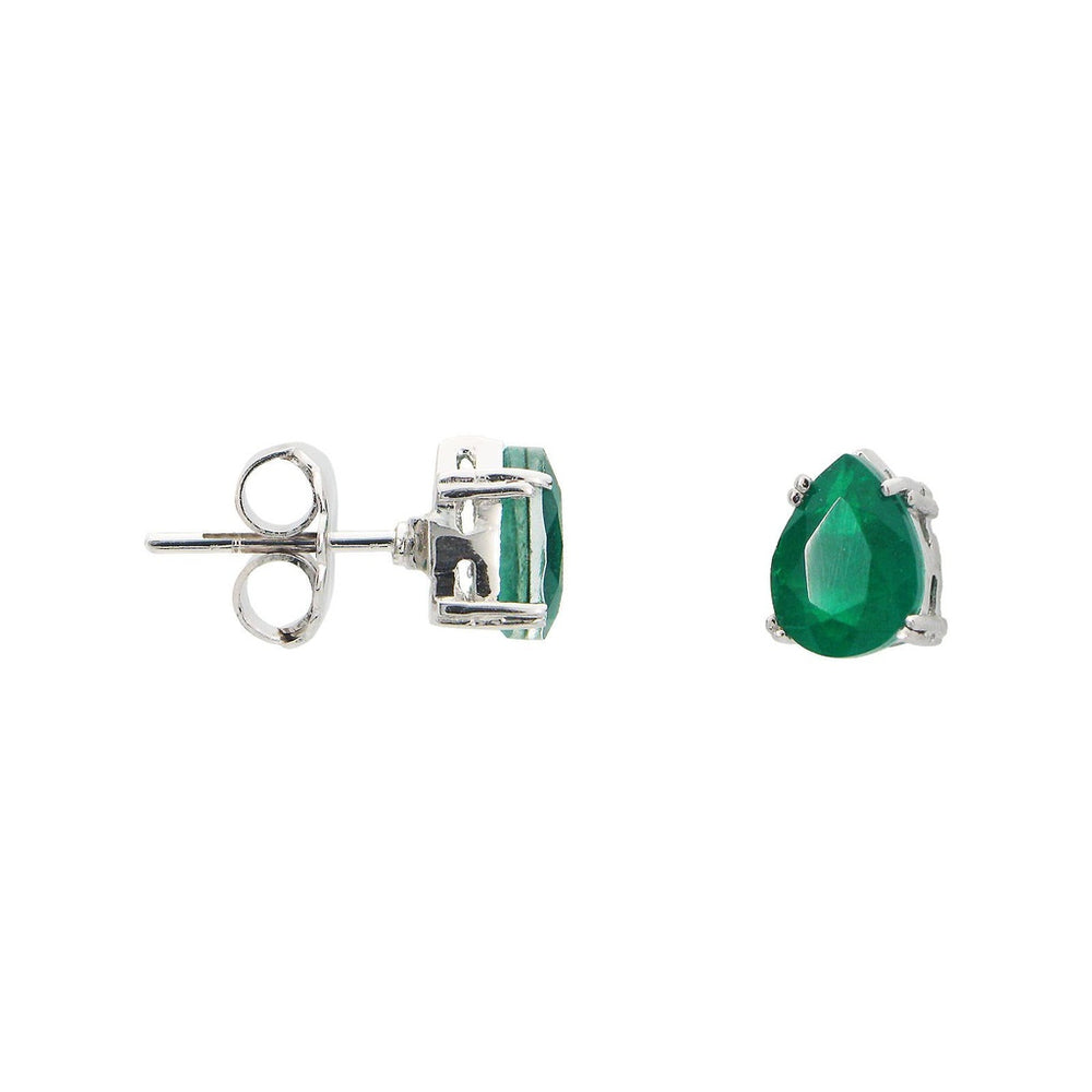 Pear Shaped Emerald Doublet Studs