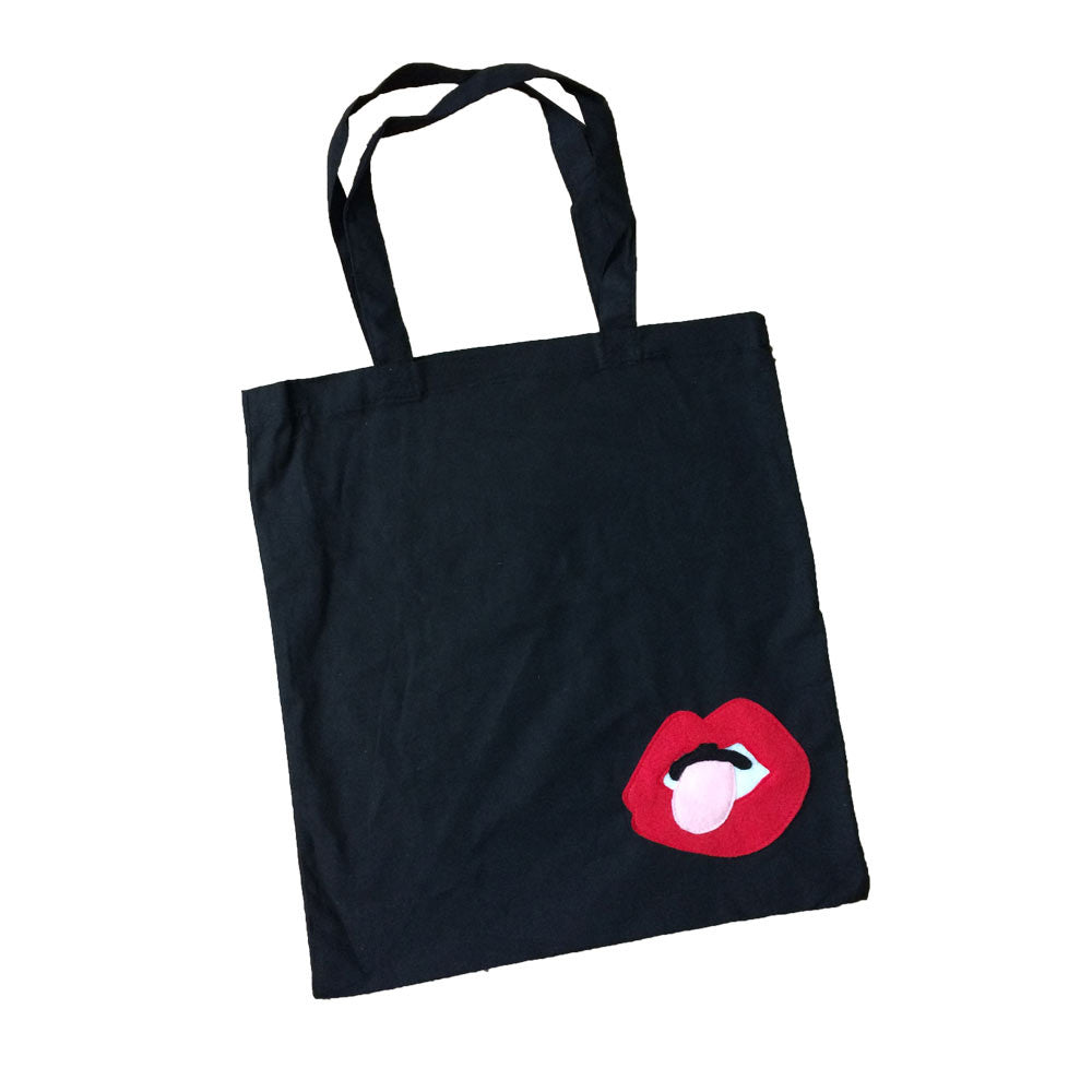 Mi Cielo X Donald Robertson - Lips Black Tote Bag