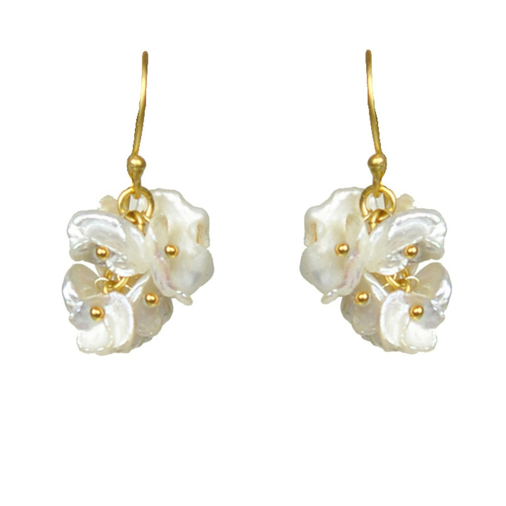 Short Keshi Pearl Cluster Earrings