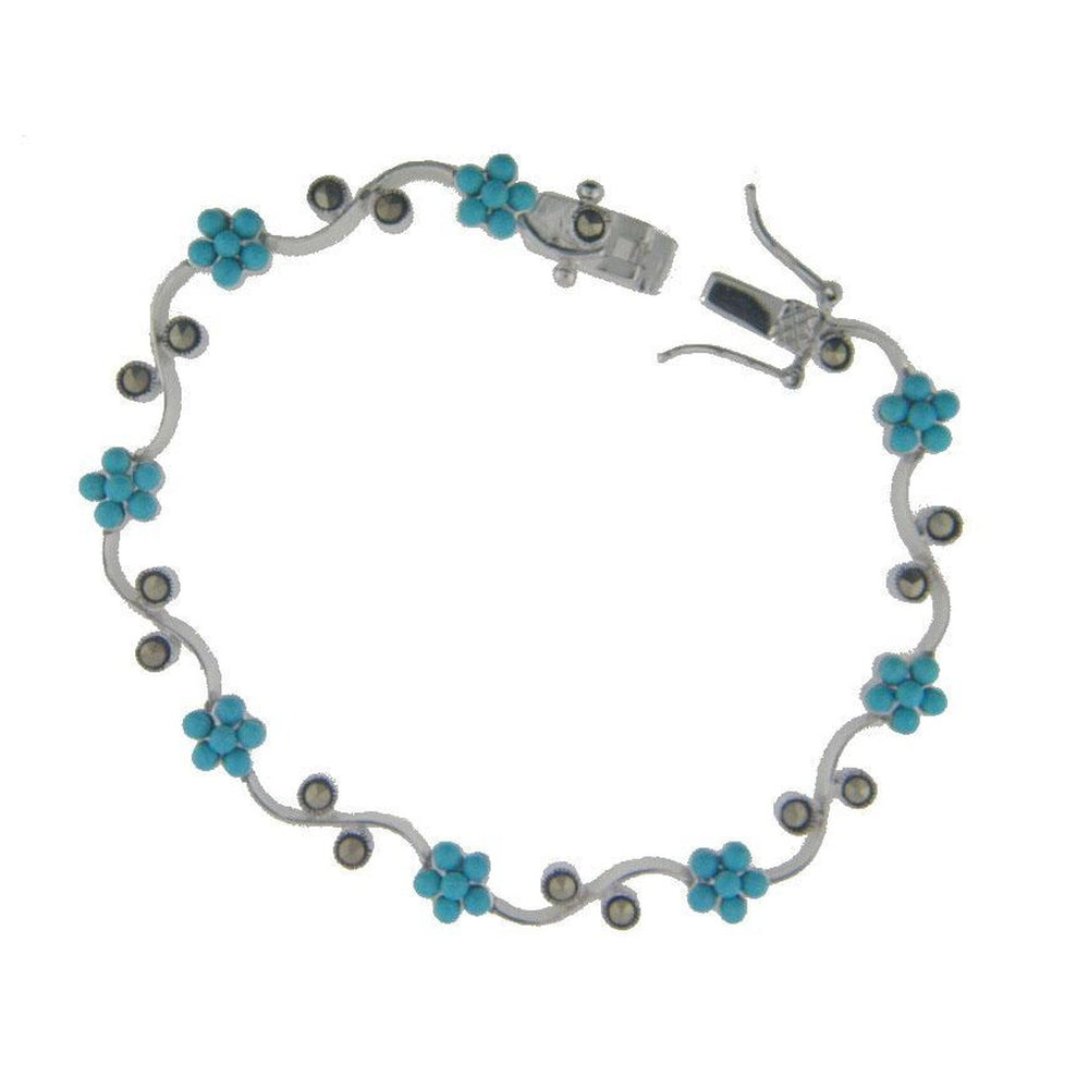 Climbing Teal Flower Bracelet with Box Safety Closure in Sterling Silver