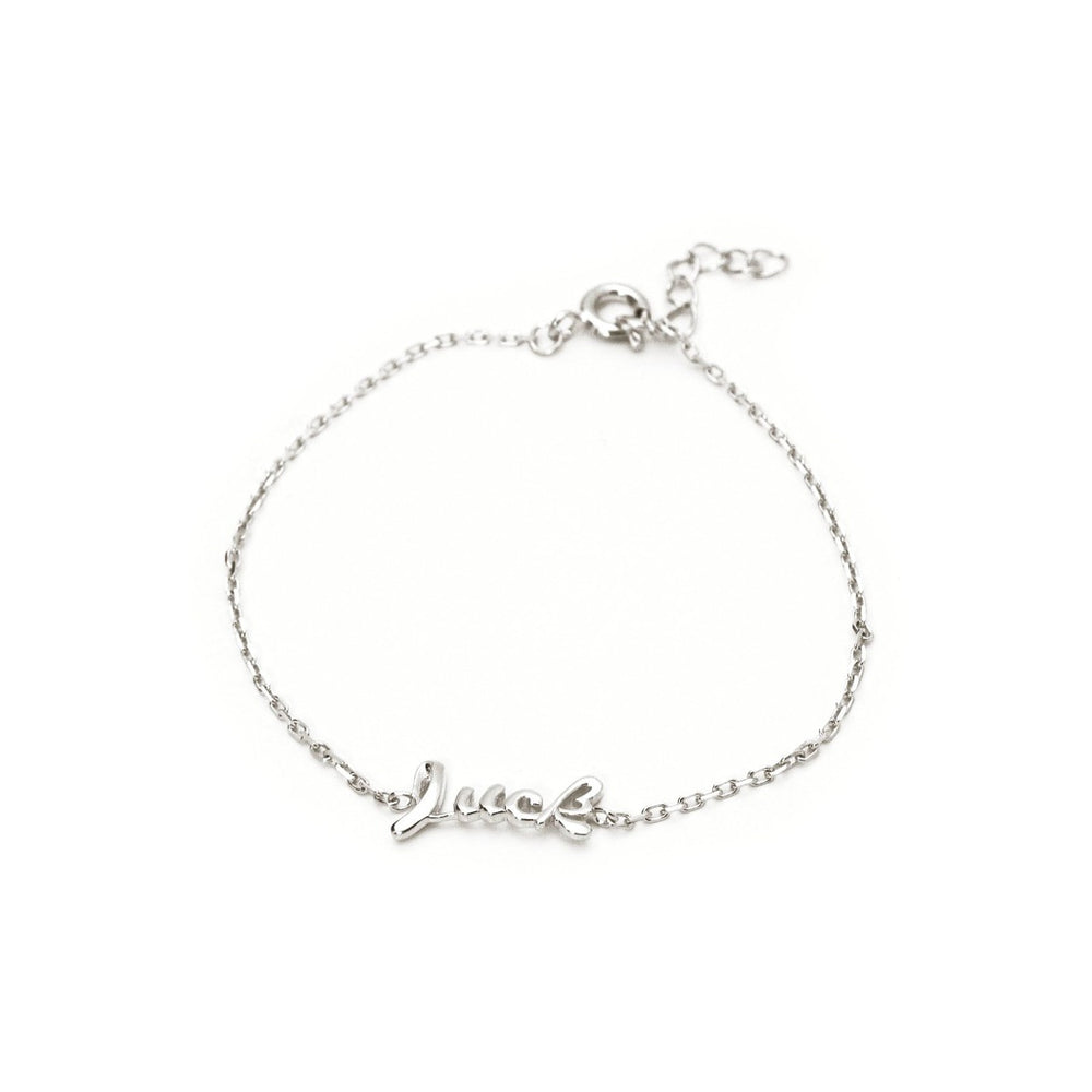 "Slender Cursive Luck Bracelet In 925 Sterling Silver, 6"" Long"