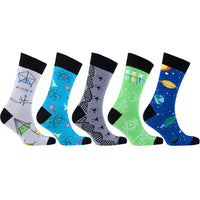 Men's 5-Pair Funky-Science Socks