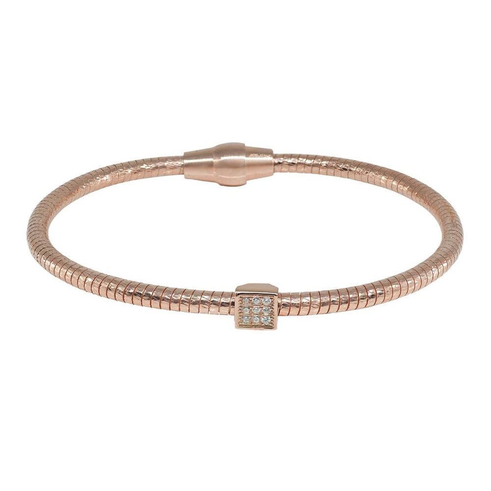 CZ Square Tubo Gas Bracelet in Rose Gold Plated Sterling Silver