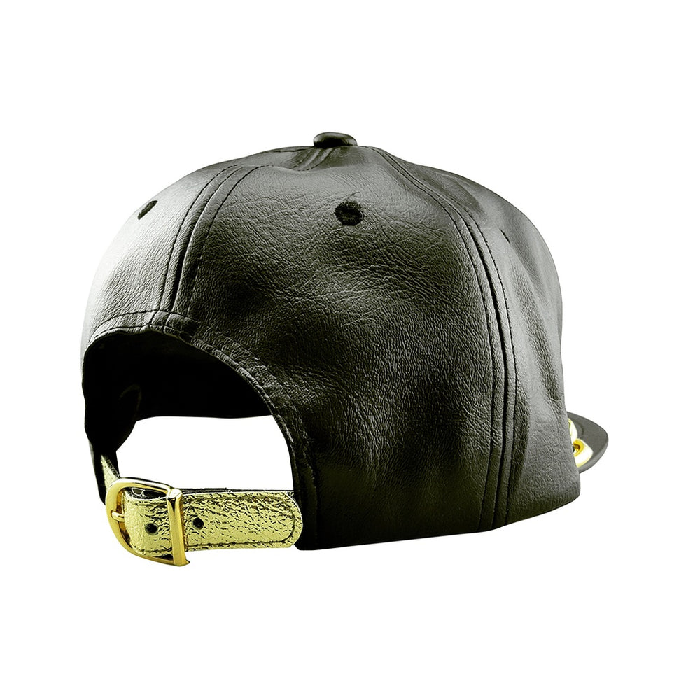 Faux Leather Snapback Hat with Gold Chain