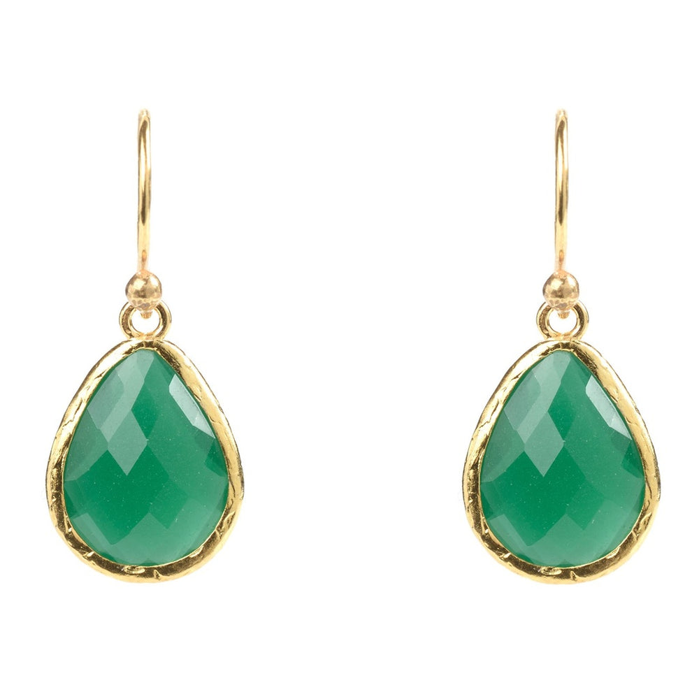Gold Petite Drop Earring Green Onyx