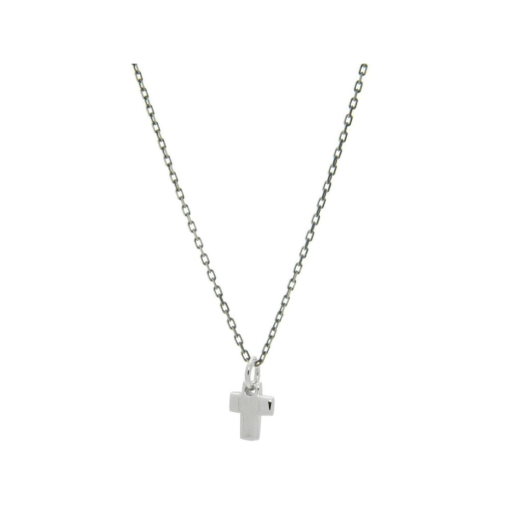 "Mini Cross Pendant Necklace in Rhodium Plated Silver, Length 16"" + 2"""