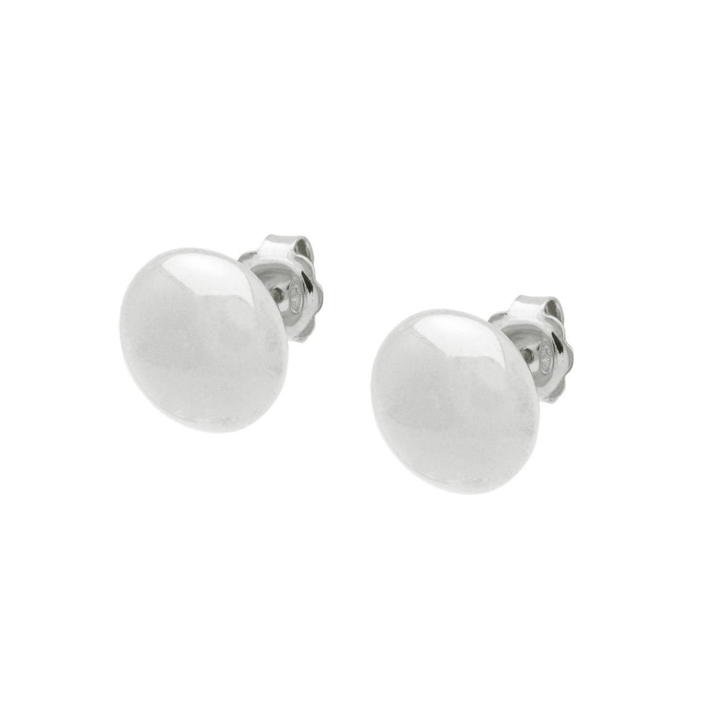 Sterling Silver Flat Ball Stud Earrings 13 mm Mirror Finish