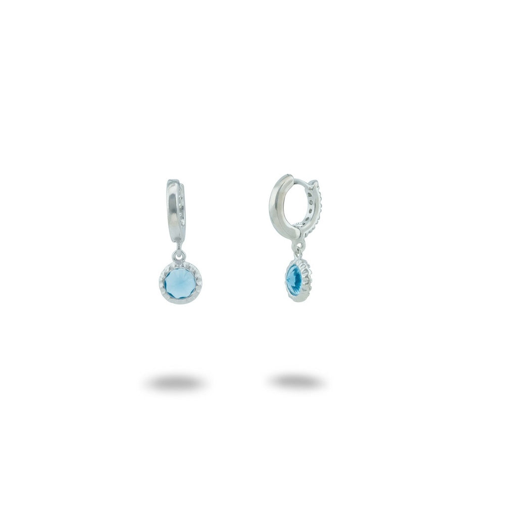 BecKids Blue CZ Huggie Kids Earrings: 925 Sterling Silver