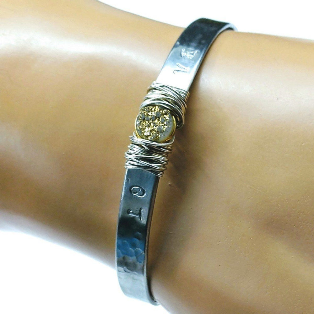 Stainless Steel LOVE Stamped Silver Wire Wrap Gold Druzy Bangle Cuff