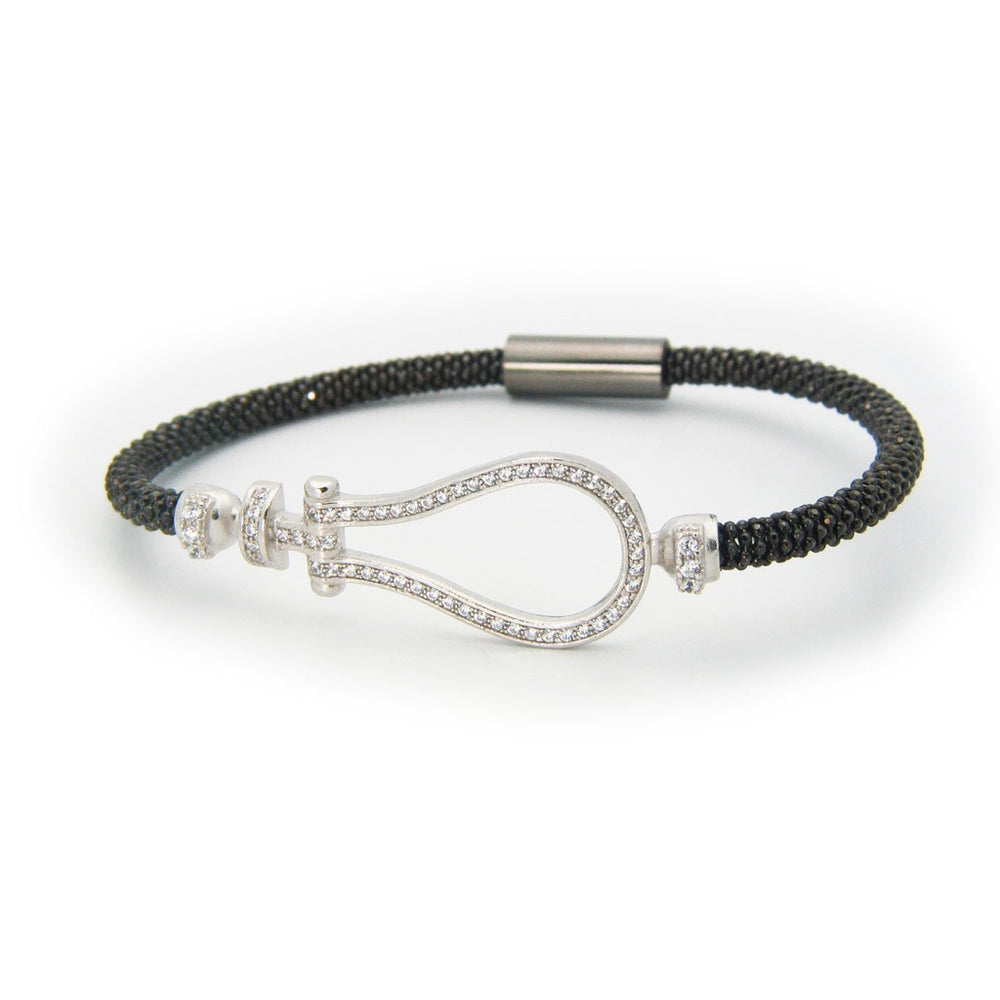 Gunmetal Sparkling Door Knocker Bracelet