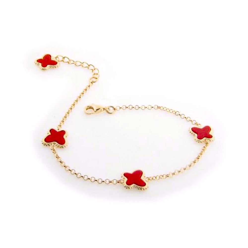 "Red Coral Butterfly Charms Bracelet in Gold Plating, 7"" + 1"" Extender"