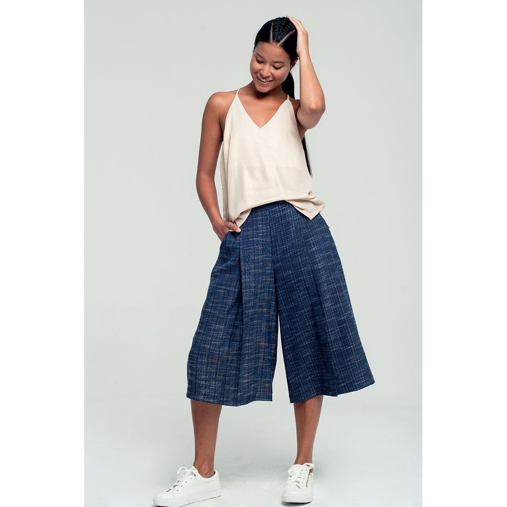 Tailored culottes in navy