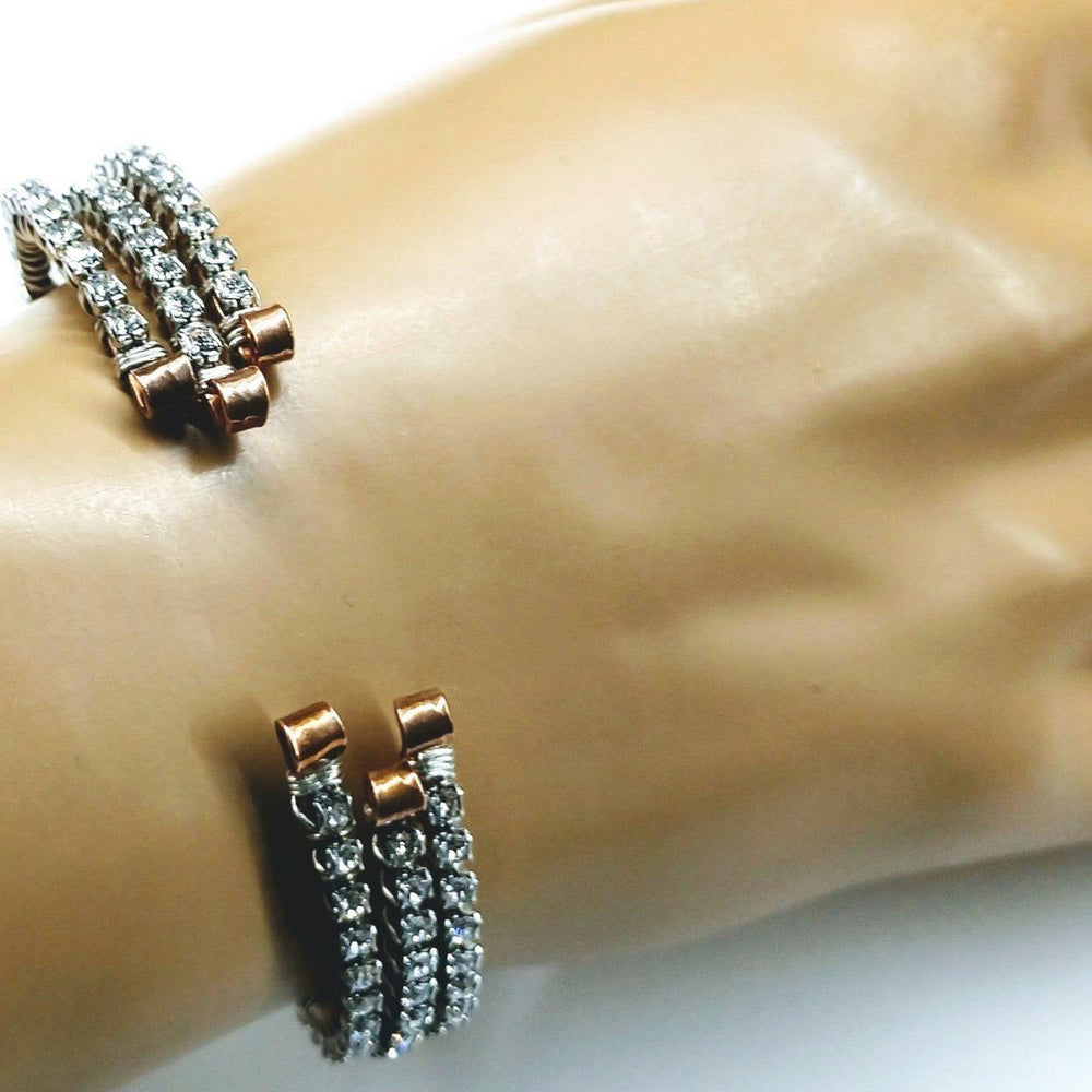 Wire Wrapped Copper Silver Crystal Rhinestone Bangle