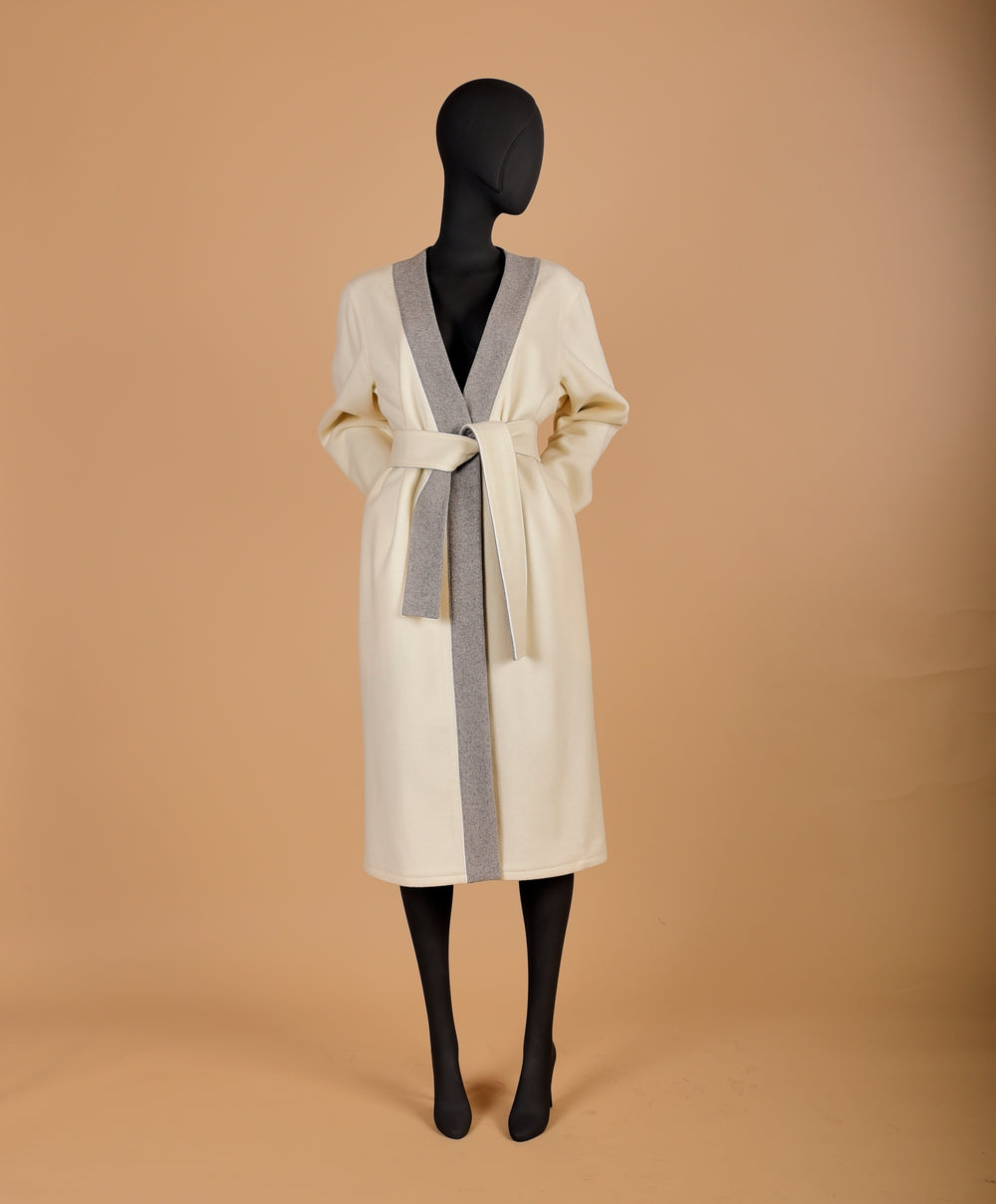 Milk Color Wrap Coat
