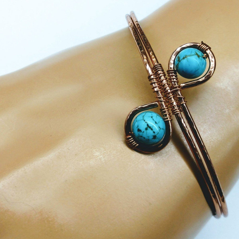 Wire Wrapped Adjustable Turquoise Beads Copper Wire Bracelet