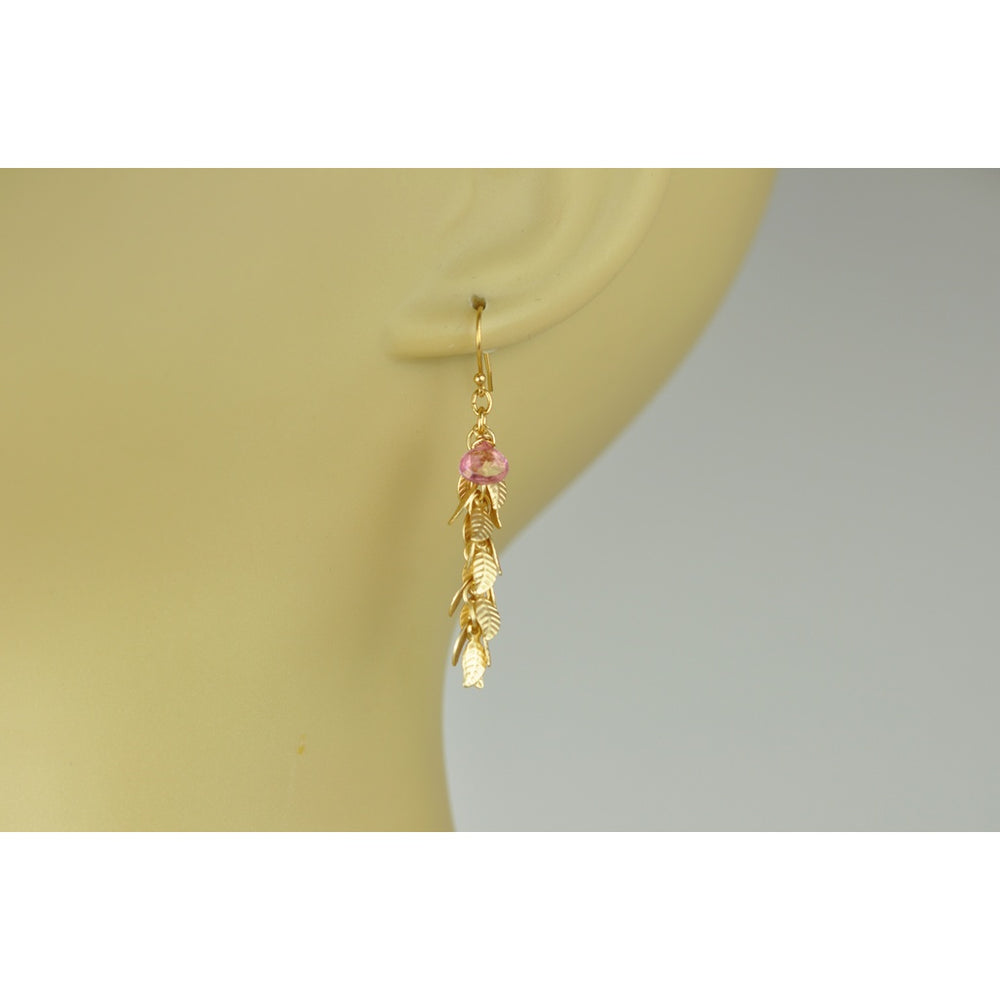 Pink Sapphire With Leaf Cascade Earrings