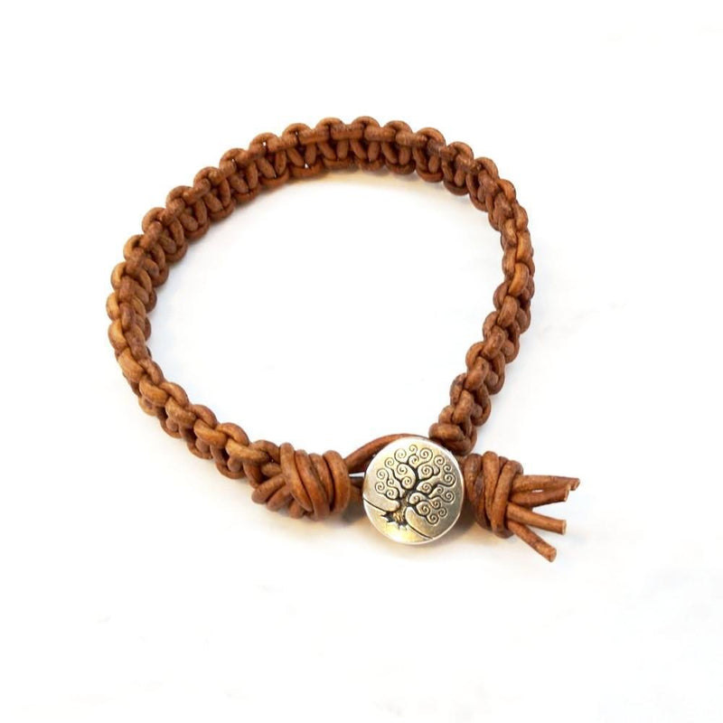 Large Mens Tree of Life Earth Colored Macrame Leather Bracelet