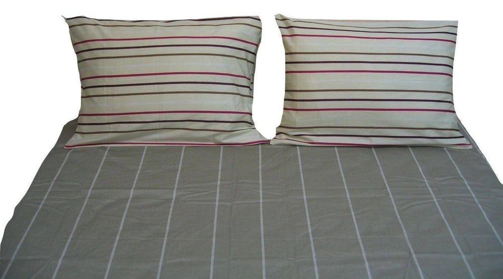 DaDa Bedding Soft Gray Striped Print Flat Sheet with Pillow Cases Covers Set