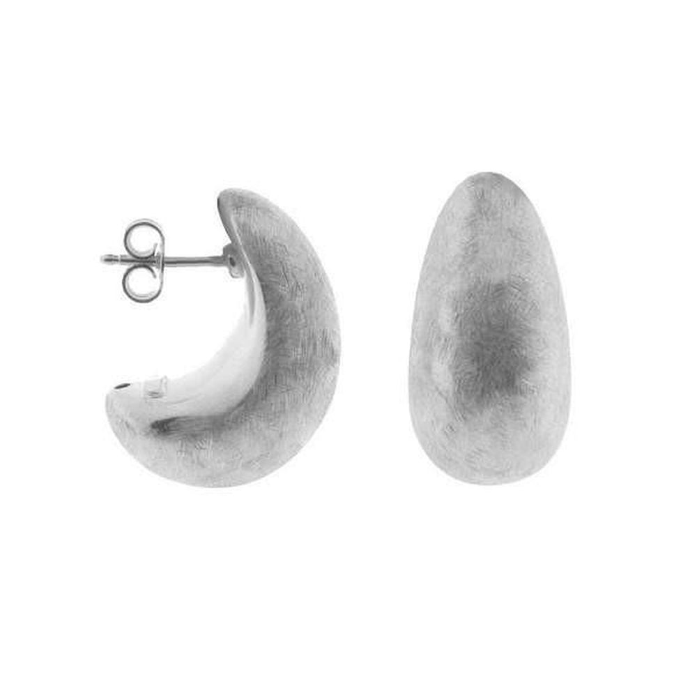 Half Moon Electroformed Satin Sterling Silver Earrings