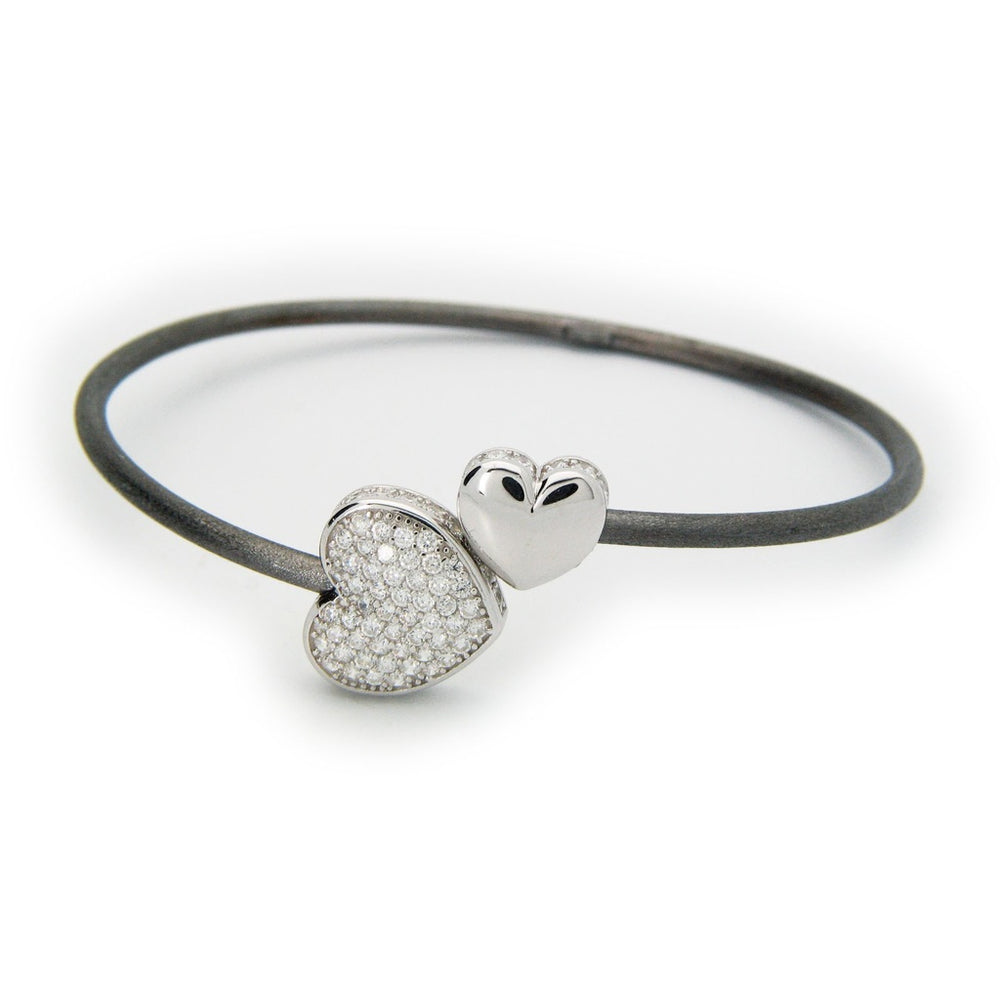 Sparkling Cz Heart Cuff Bangle in Gunmetal Sterling Silver