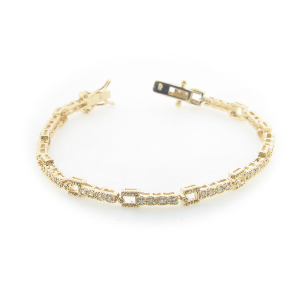 Sparkling Art Deco Bracelet in Gold Plated Sterling Silver, Box Safety Closure