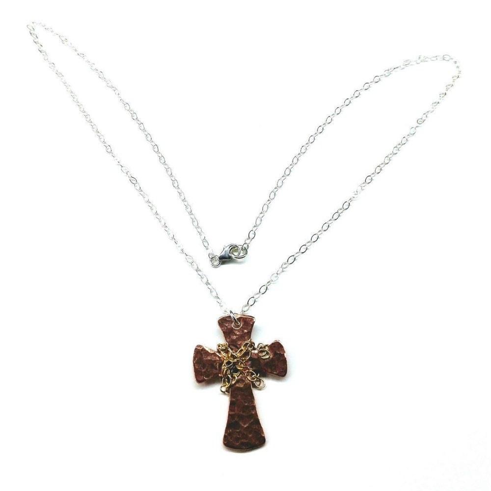 Chained Hammered Copper Cross Necklace for Him or Her