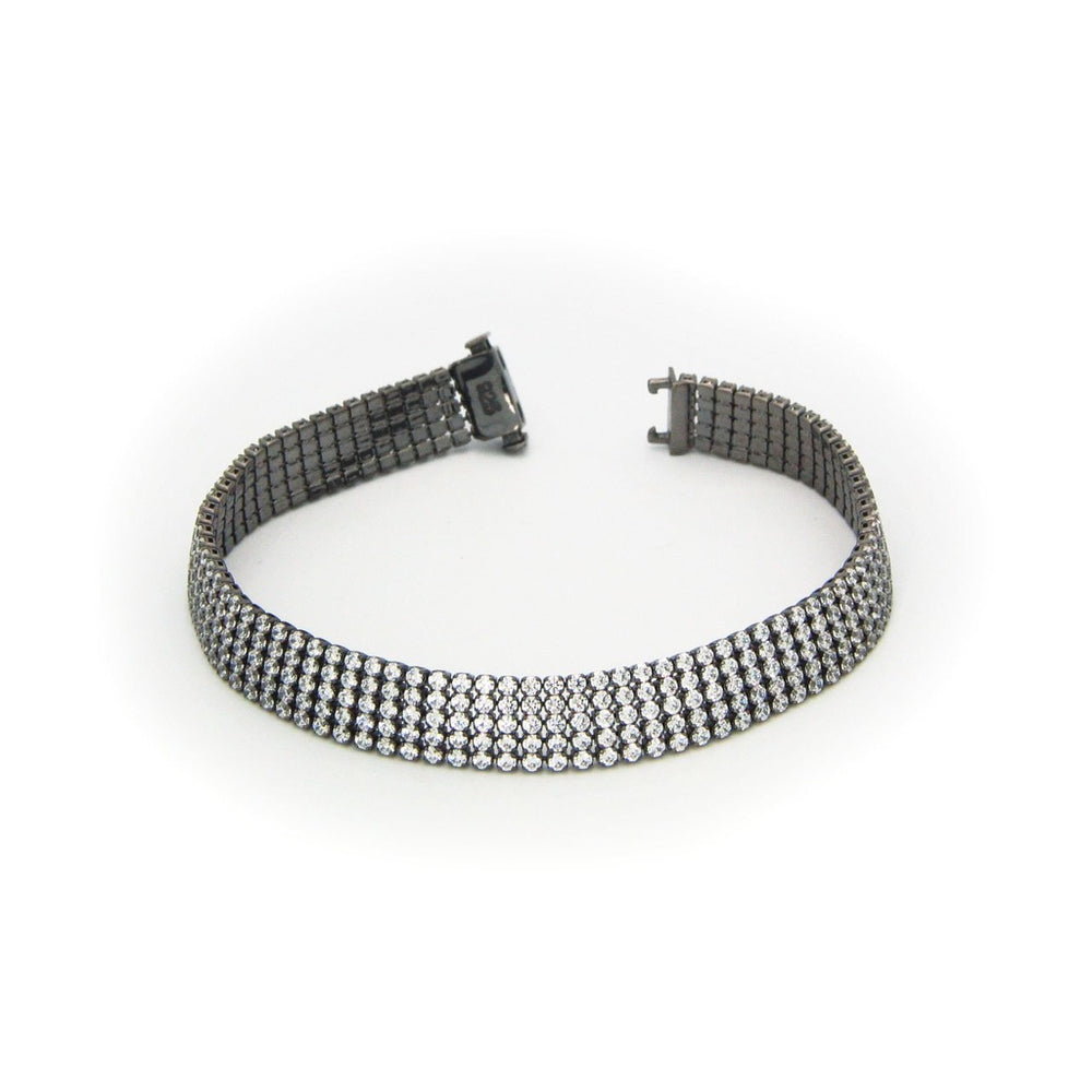 Gunmetal Black 5 Row Tennis Bracelet