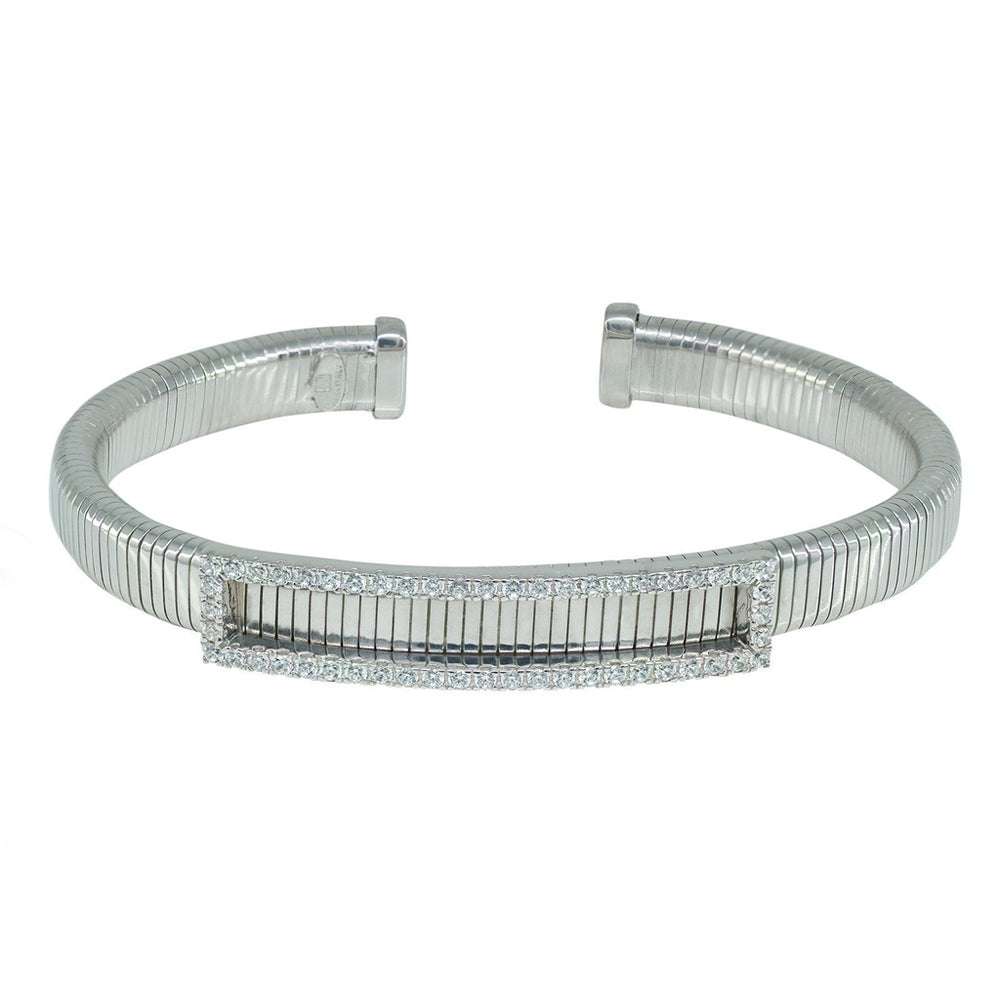 Cz Tubo Gas Cuff Bangle