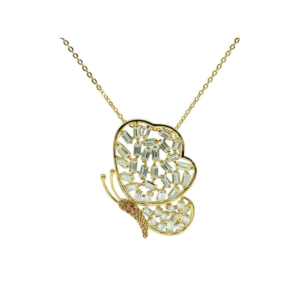 Sparkling Baguette Golden Butterfly Necklace