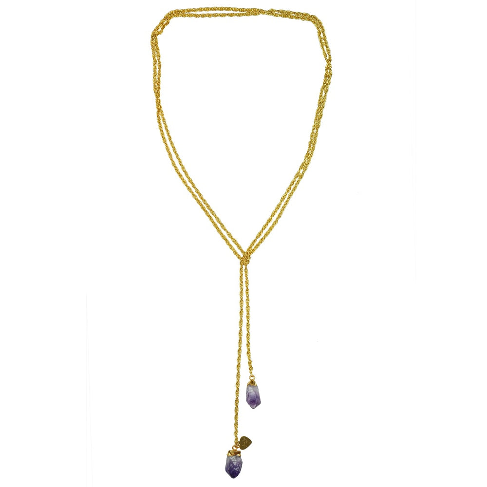Amethyst Druzy Lariat Necklace