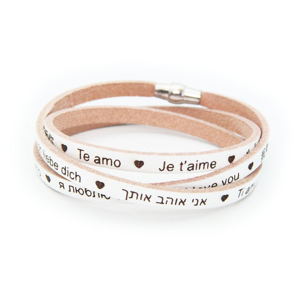 Universal I LOVE YOU Italian Leather Bracelet- Beige