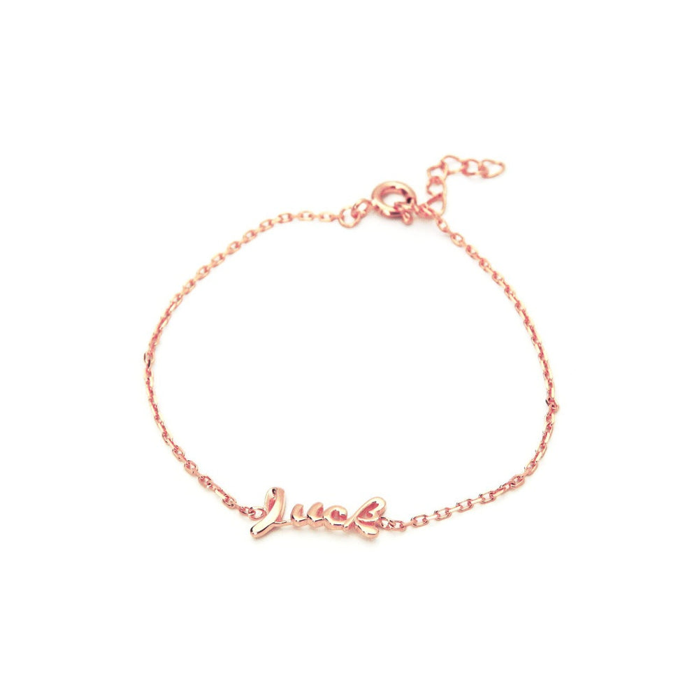 "Slender Cursive Luck Bracelet In Rose Gold Plated 925 Sterling Silver, 6"" Long"