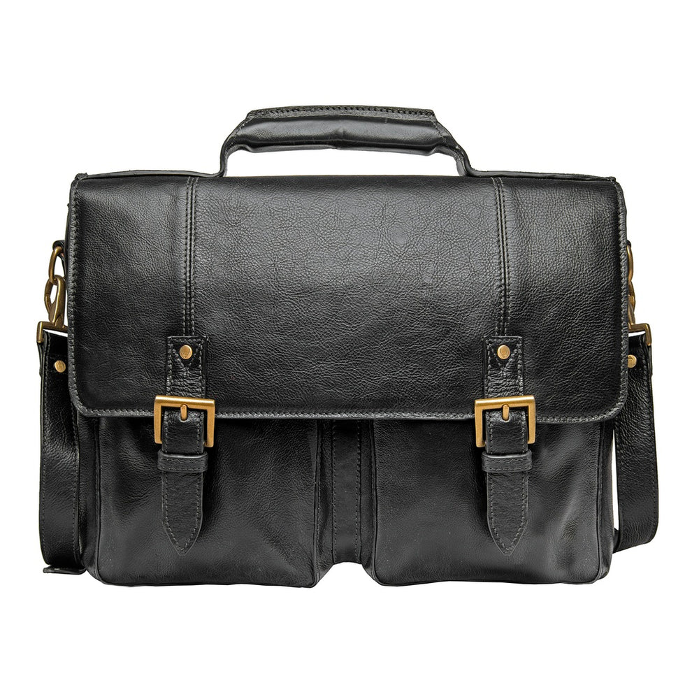 "Hidesign Charles Leather 17"" Laptop Compatible Briefcase Work Bag"