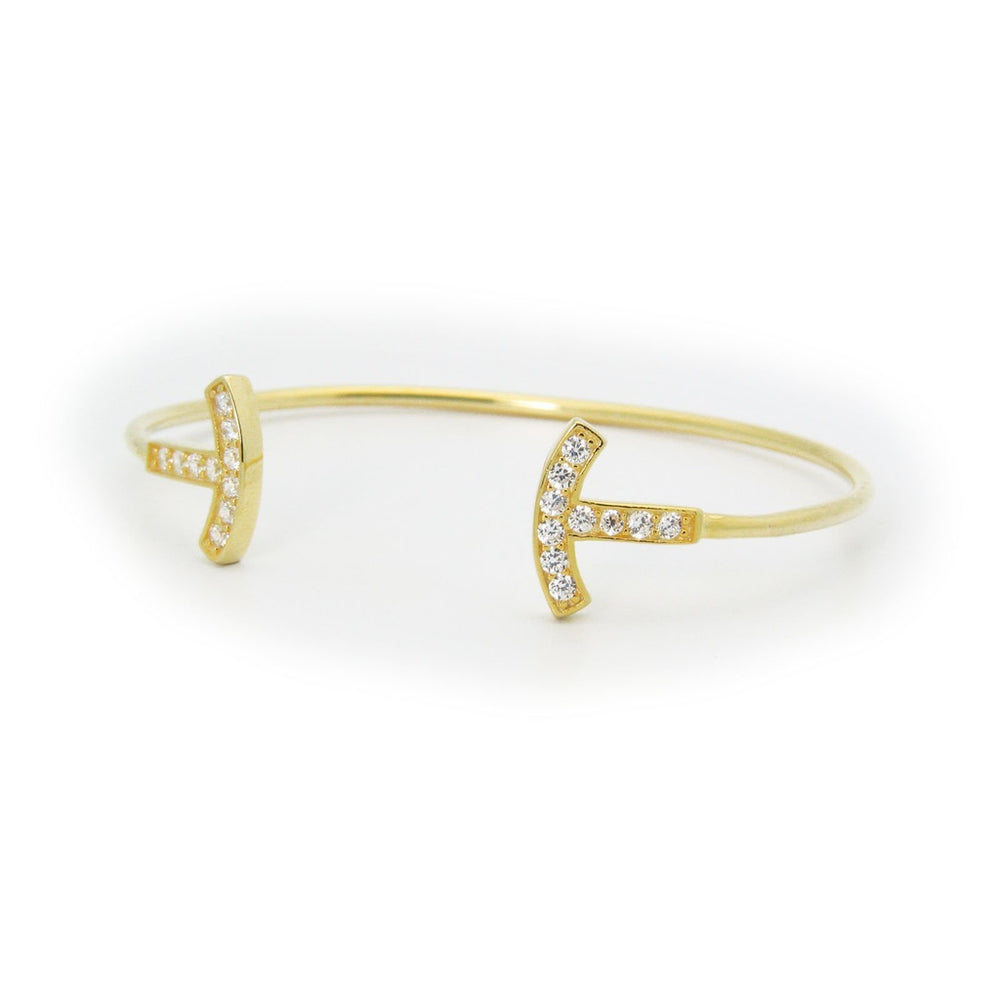 Open Wire Sparkling T Ends Bangle Bracelet in Gold Plated Sterling Silver