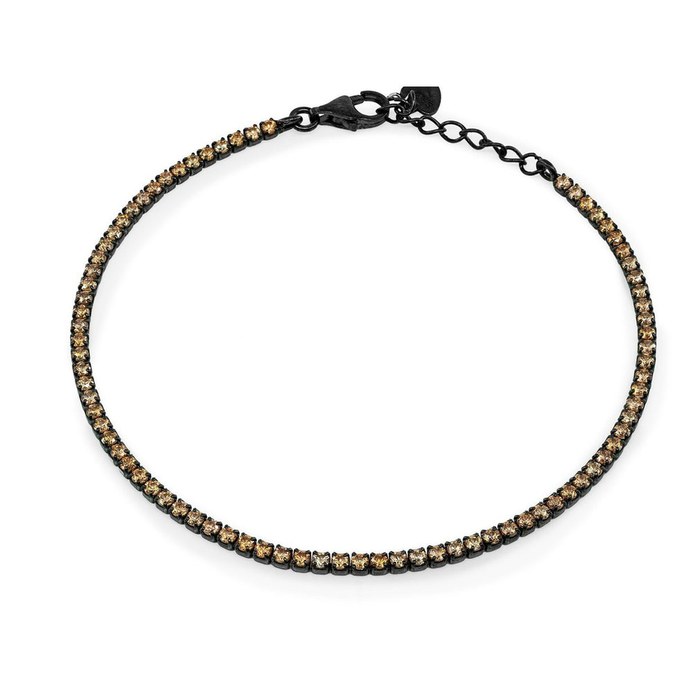 Mini Champagne CZ Tennis Bracelet  Midnight Black Sterling Silver