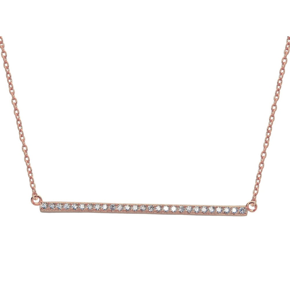 "Sparkling Rose Bar Golden Necklace, 16"" + 1"""